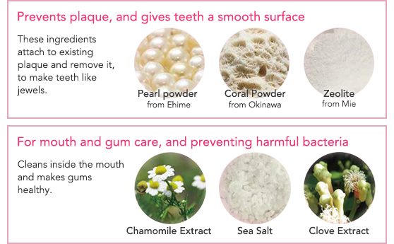 Prevents plaque, and gives teeth a smooth surface / For mouth and gum care, and preventing harmful bacteria