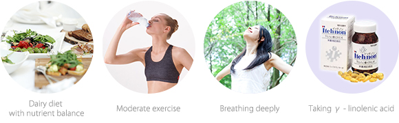 Dairy diet with nutrient balance  Moderate exercise   Breathing deeply  Taking γ - linolenic acid